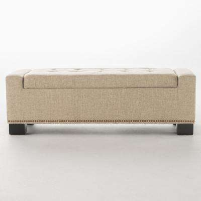 Explorer Wheat Beige Fabric Storage Bench with Studs