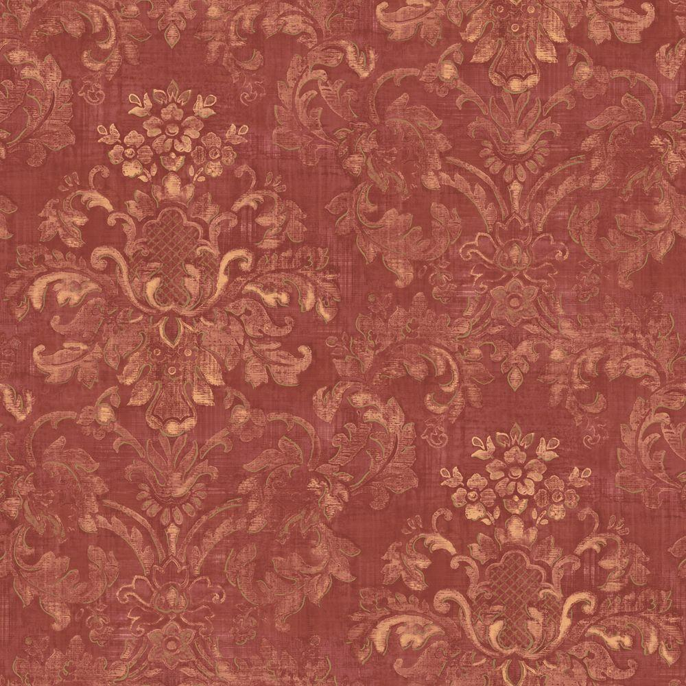 The Wallpaper Company 56 sq. ft. Red Floral Damask Watercolor Wallpaper-DISCONTINUED