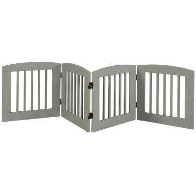 Ruffluv 24 in. H Wood 4-Panel Expansion Grey Pet Gate