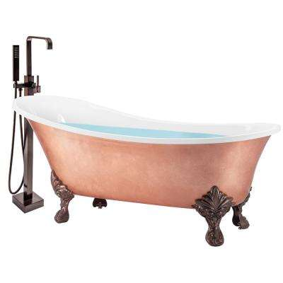 69 in. Glossy Copper Foil Fiberglass Non-Whirlpool Clawfoot Bathtub with Tub Filler Combo - Modern Stand Alone Tub