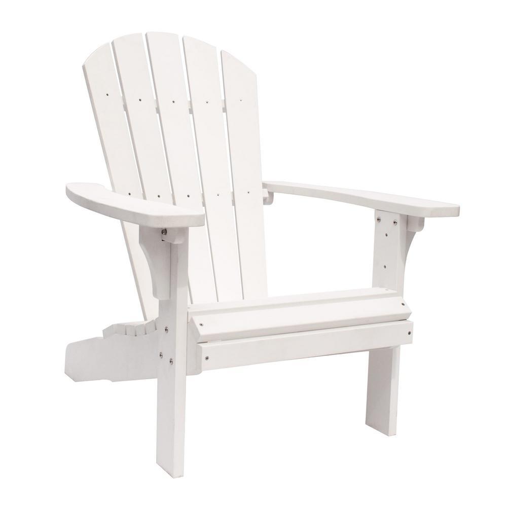 Shine Company Royal Palm White Plastic Adirondack Chair