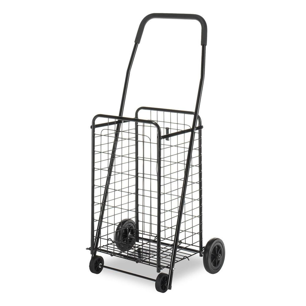 Whitmor Utility Cart Collection 18.63 in. x 38.78 in. Rolling Utility Cart in Black