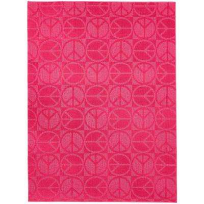Large Peace Pink 5 Ft. X 7 Ft. Area Rug