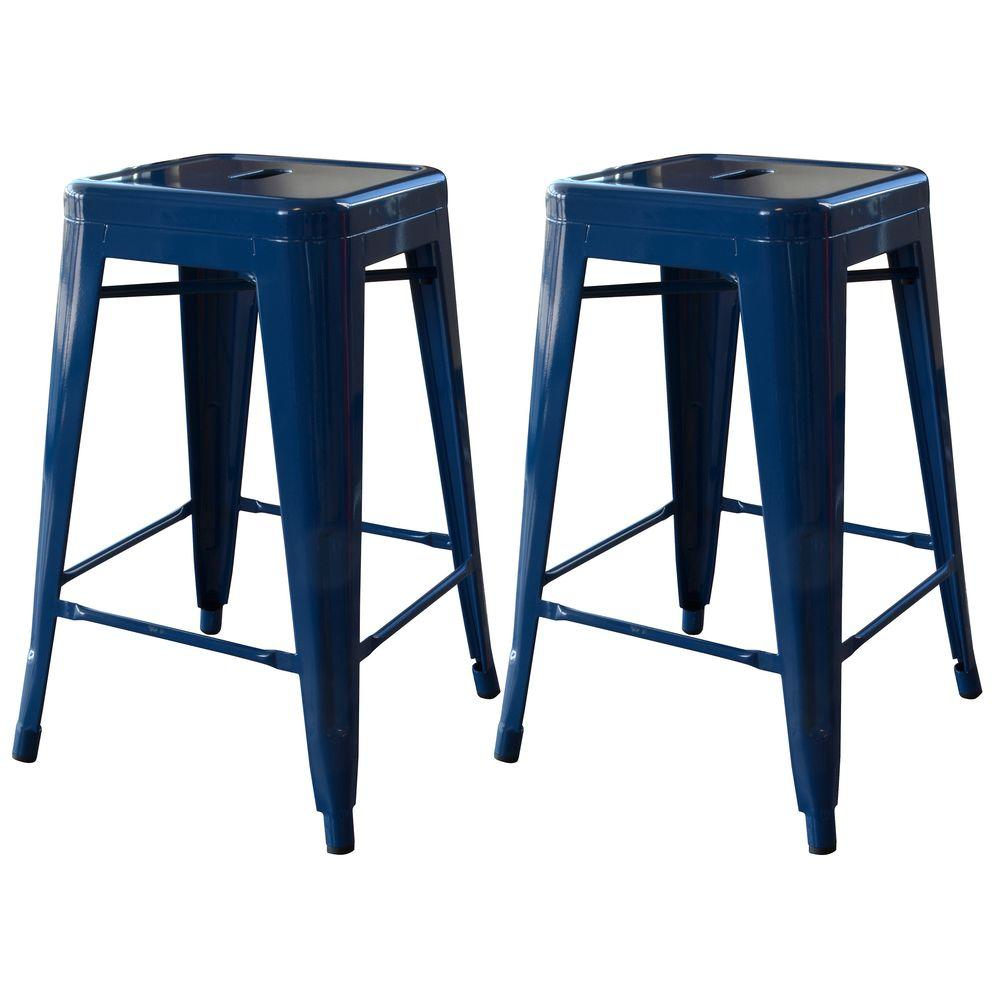 Amerihome Loft Style 24 In Stackable Metal Bar Stool In Blue Set