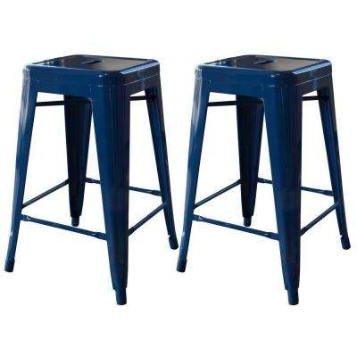 Loft Style 24 in. Stackable Metal Bar Stool in Blue (Set of 2)