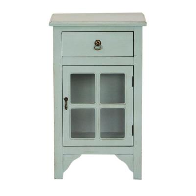 Shelly Aqua Wood Cabinet with a Drawer and Door