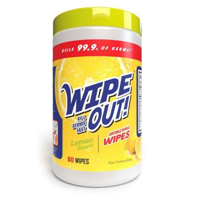 Wipe Out Lemon Scent Antibacterial Hand Wipes
