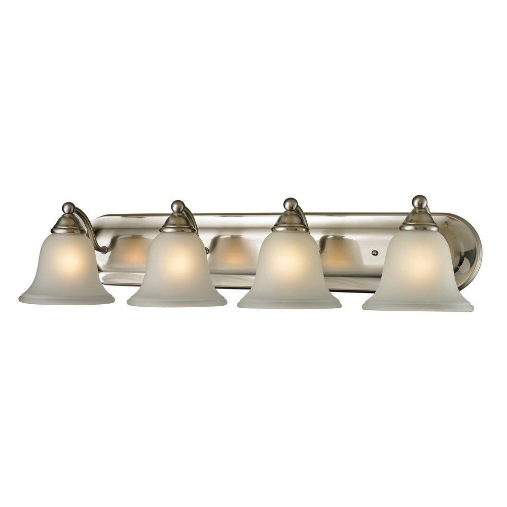 Titan Lighting Shelburne 4 Light Brushed Nickel Wall Mount Bath Bar Light Tn 50131 The Home Depot