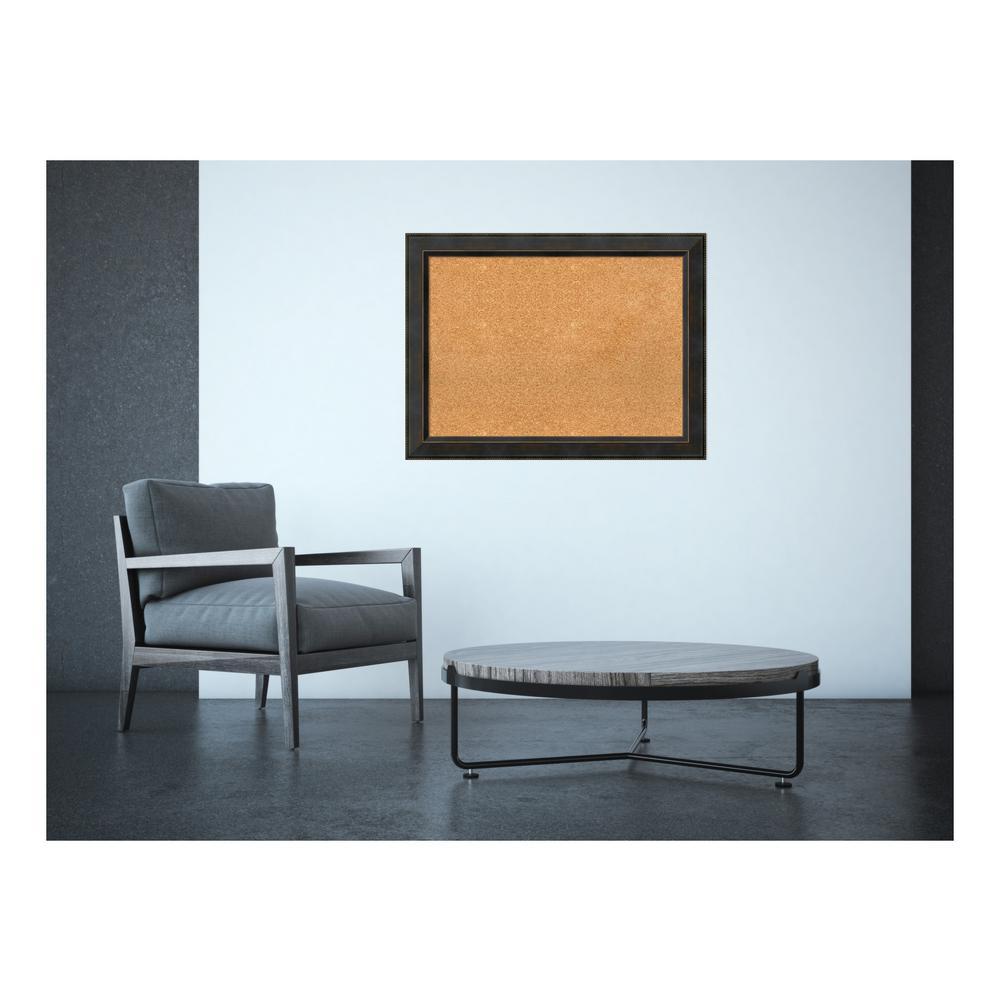 Signore Bronze Wood 33 in. x 25 in. Framed Cork Memo Board