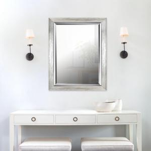 35.25 inch H x 27.25 inch W Silver Leaf Gradient Frame with Liner Beveled Mirror (Inner Mirror 20 inch x 28... by