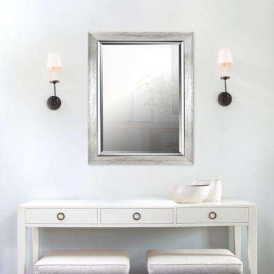 35.25 in. H x 27.25 in. W Silver Leaf Gradient Frame with Liner Beveled Mirror (Inner Mirror 20 in. x 28 in.)