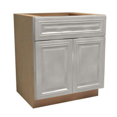 24x34.5x21 in. Coventry Assembled Vanity Sink Base Cabinet with 2 Soft Close Doors 1 False Drawer Front in Pacific White