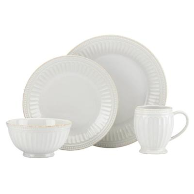 French Perle Groove 4-Piece White Dinnerware Set