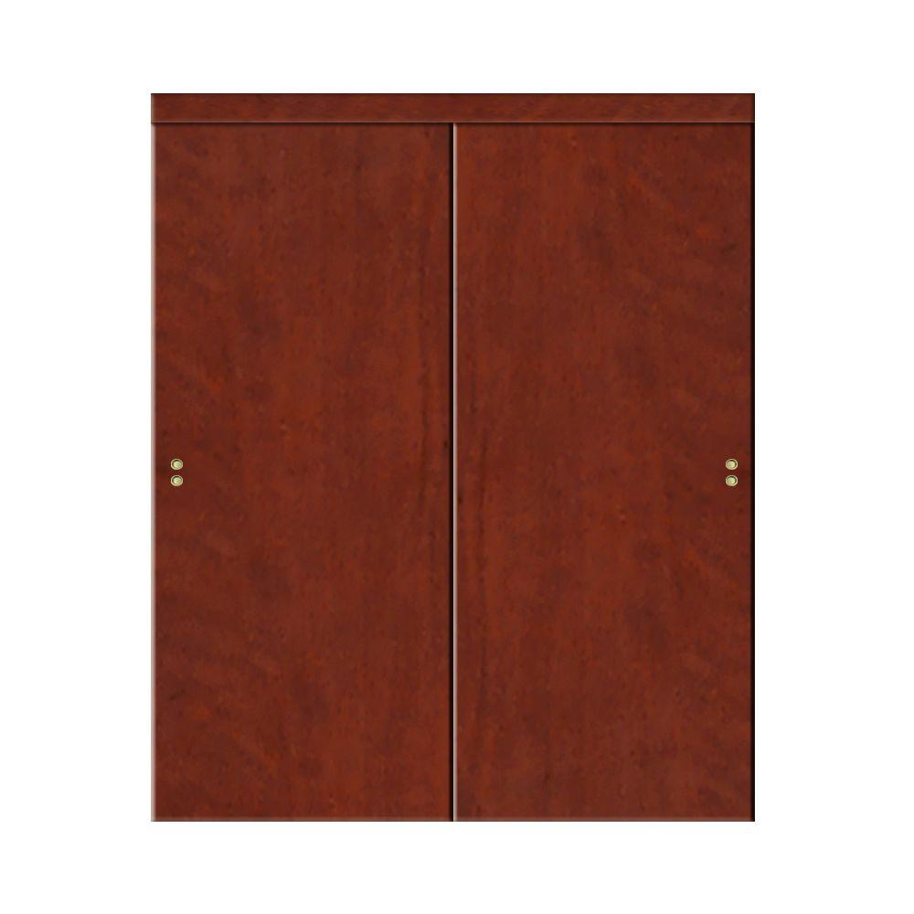 Impact Plus 72 In. X 96 In. Smooth Flush Solid Core Cherry MDF Interior  Closet Sliding Door With Matching Trim CS3426080M   The Home Depot