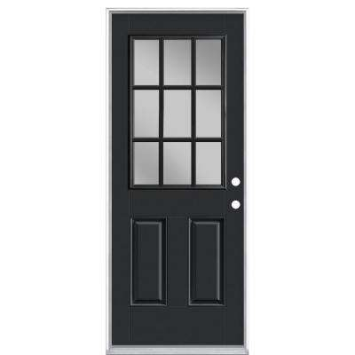 32 in. x 80 in. 9 Lite Jet Black Left Hand Inswing Painted Smooth Fiberglass Prehung Front Exterior Door, Vinyl Frame