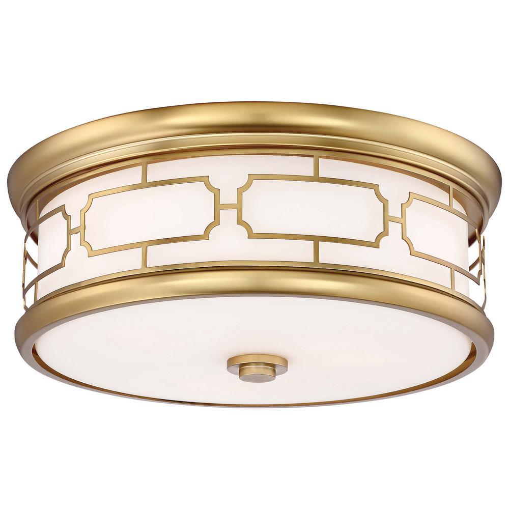 3-Light Liberty Gold Flushmount