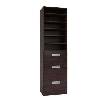 15 in. D x 24 in. W x 84 in. H Firenze Espresso Melamine with 6-Shelves and 3-Drawers Closet System Kit