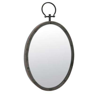 25 in. x 14 in. Brown Metal Mirror with Hanging Ring and Rivet Trim