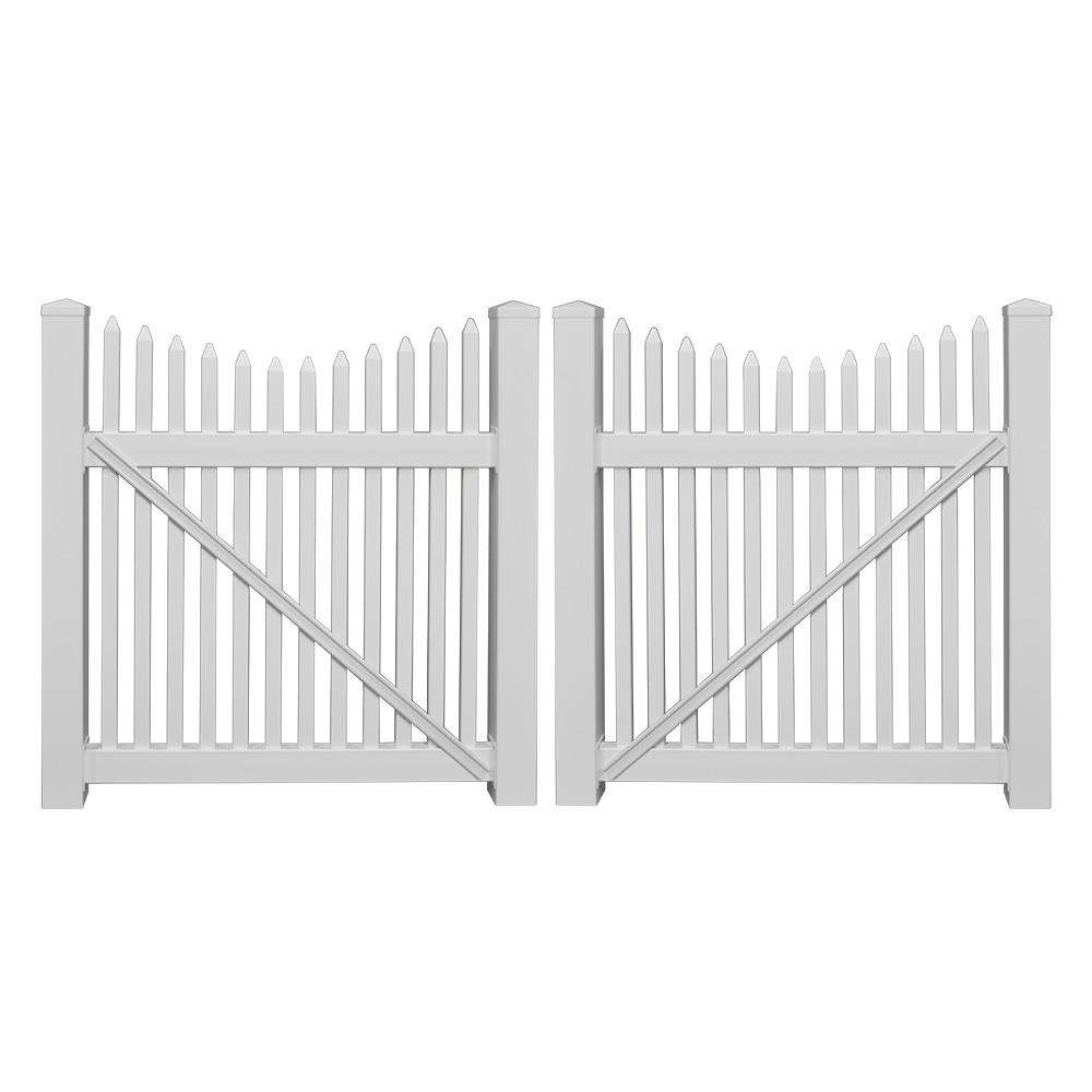 Barrington 8 ft. W x 5 ft. H White Vinyl Picket