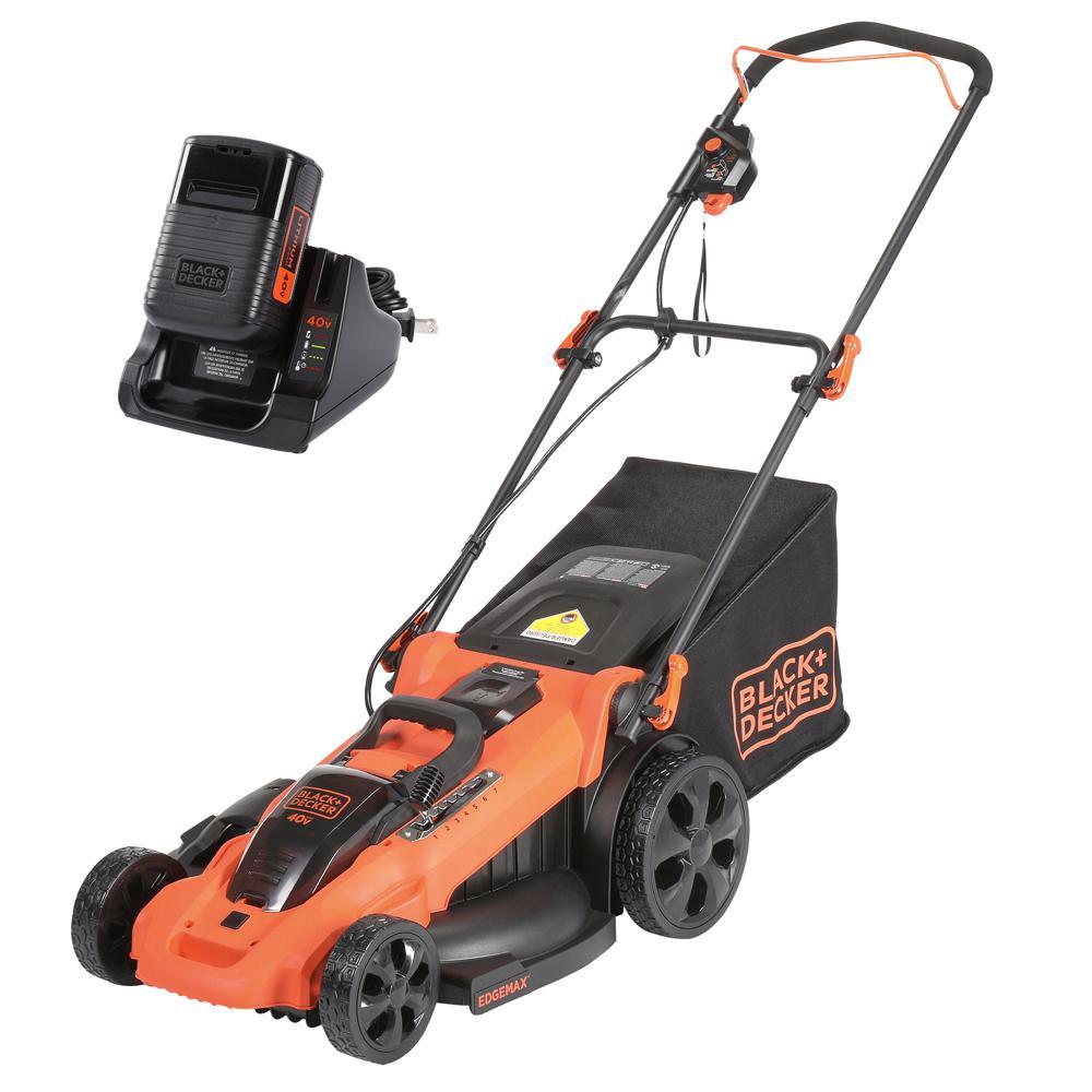 BLACK+DECKER 20 in  40-Volt MAX Lithium-Ion Cordless Walk Behind Push Lawn  Mower w/ (2) 2 5 Ah Batteries/Charger
