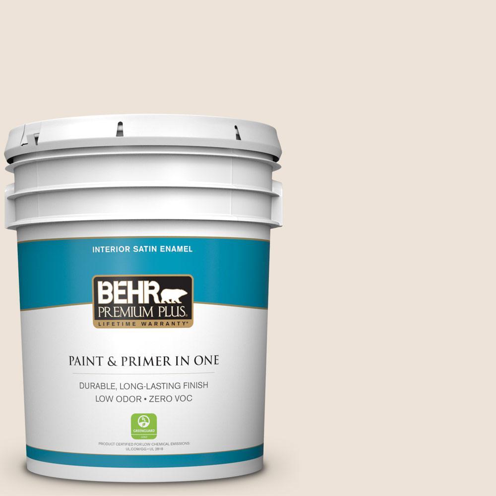 BEHR Premium Plus 5-gal. #PPL-51 Pale Chamois Zero VOC Satin Enamel Interior Paint