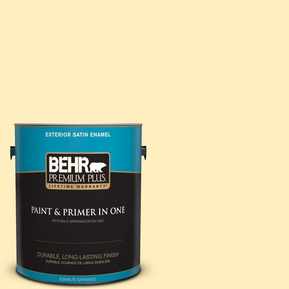 BEHR Premium Plus 1-gal. #P290-1 Soft Buttercup Satin Enamel Exterior Paint