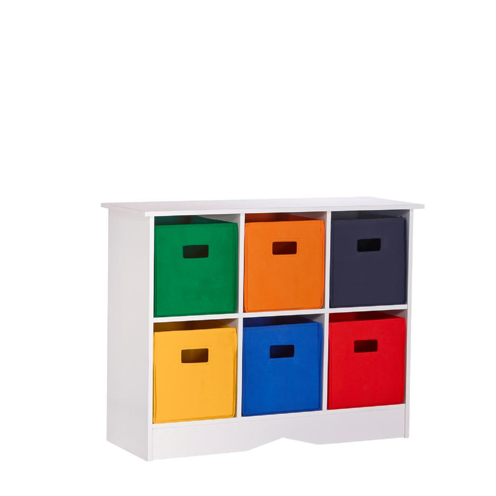 32 in. x 25 in. White/Primary Storage 6-Bin Organizer