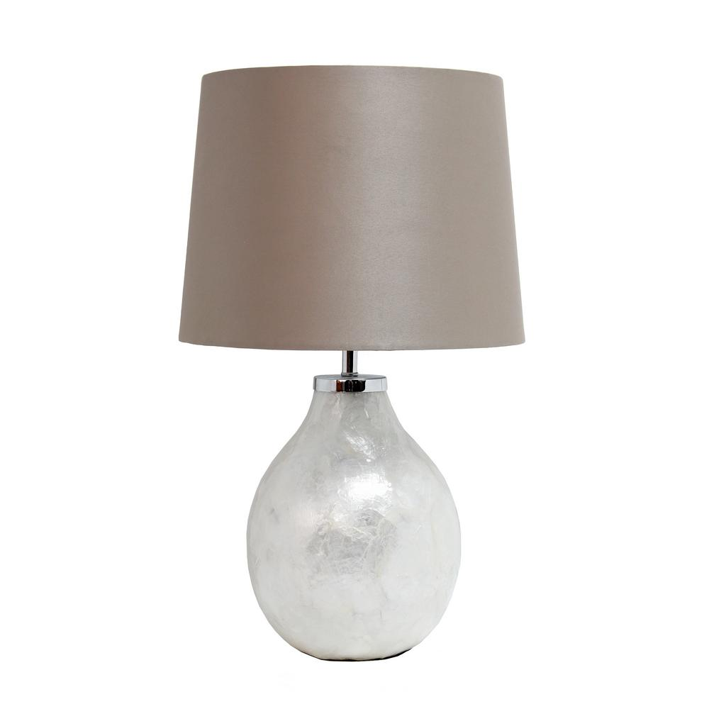 Simple Designs 18 in. Pearl Table Lamp with Fabric Shade