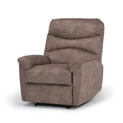 Clancy 32 in. Wide Traditional Recliner in Dark Taupe Faux Leather
