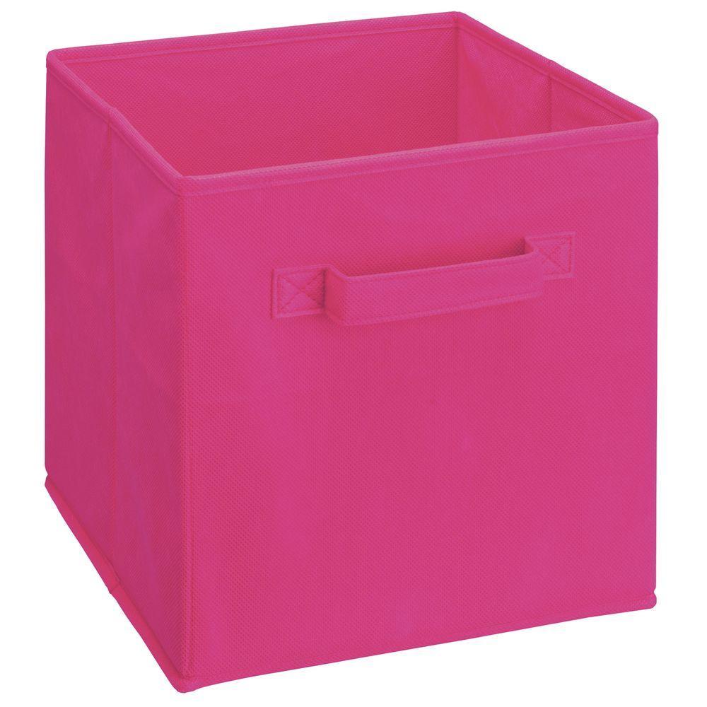 11 in. D x 11 in. H x 11 in. W Fushia Fabric Cube Storage Bin