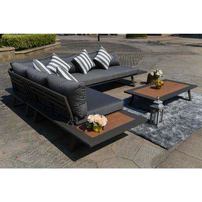 Cathelina 4-Pieces Outdoor Sofa Set Patio Furniture with Dark Grey Cushions