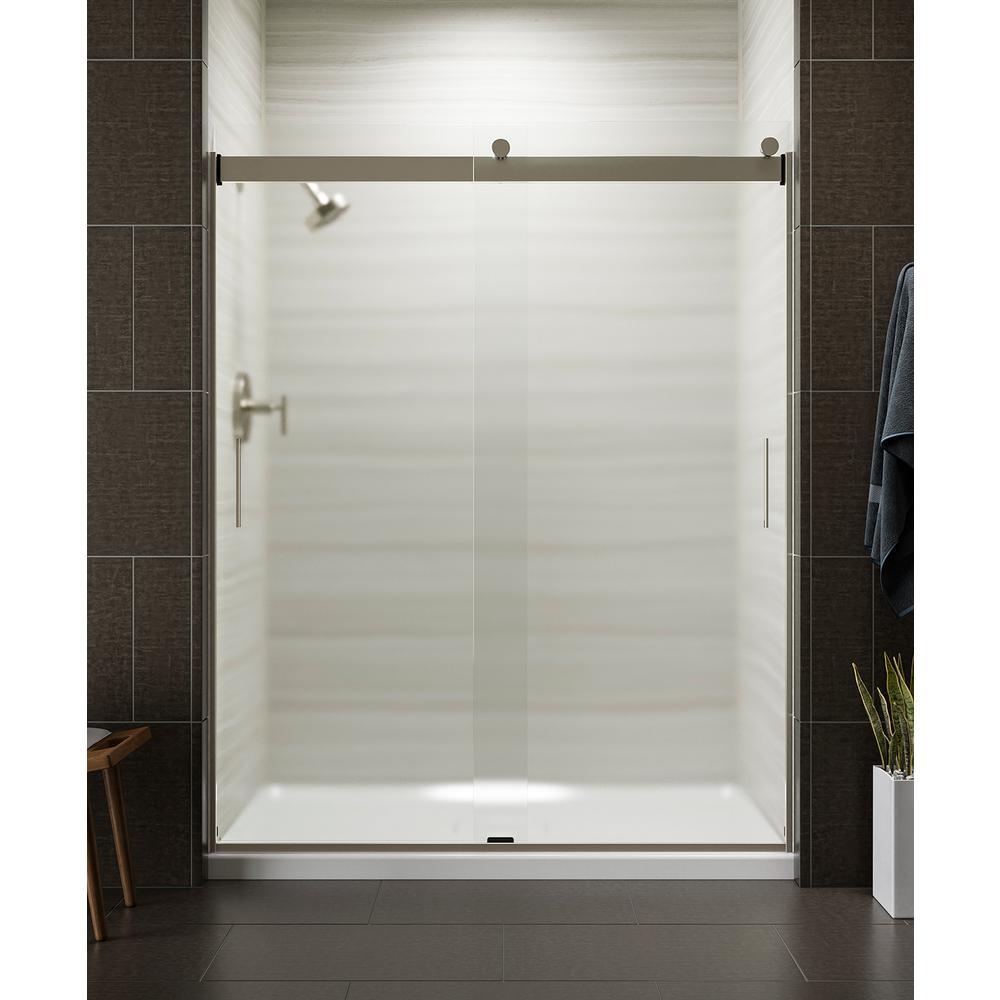 KOHLER Levity 59 in. x 74 in. Semi-Frameless Sliding Shower Door in Nickel with Handle