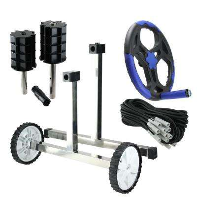 16 in. In-Ground Pool Cover Reel System with Stainless Steel Frame Tubes
