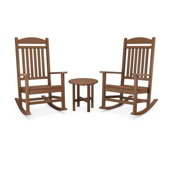 Polywood Grant Park Teak Plastic Outdoor Rocking Chair Set 3 Piece Pws540 1 Te The Home Depot