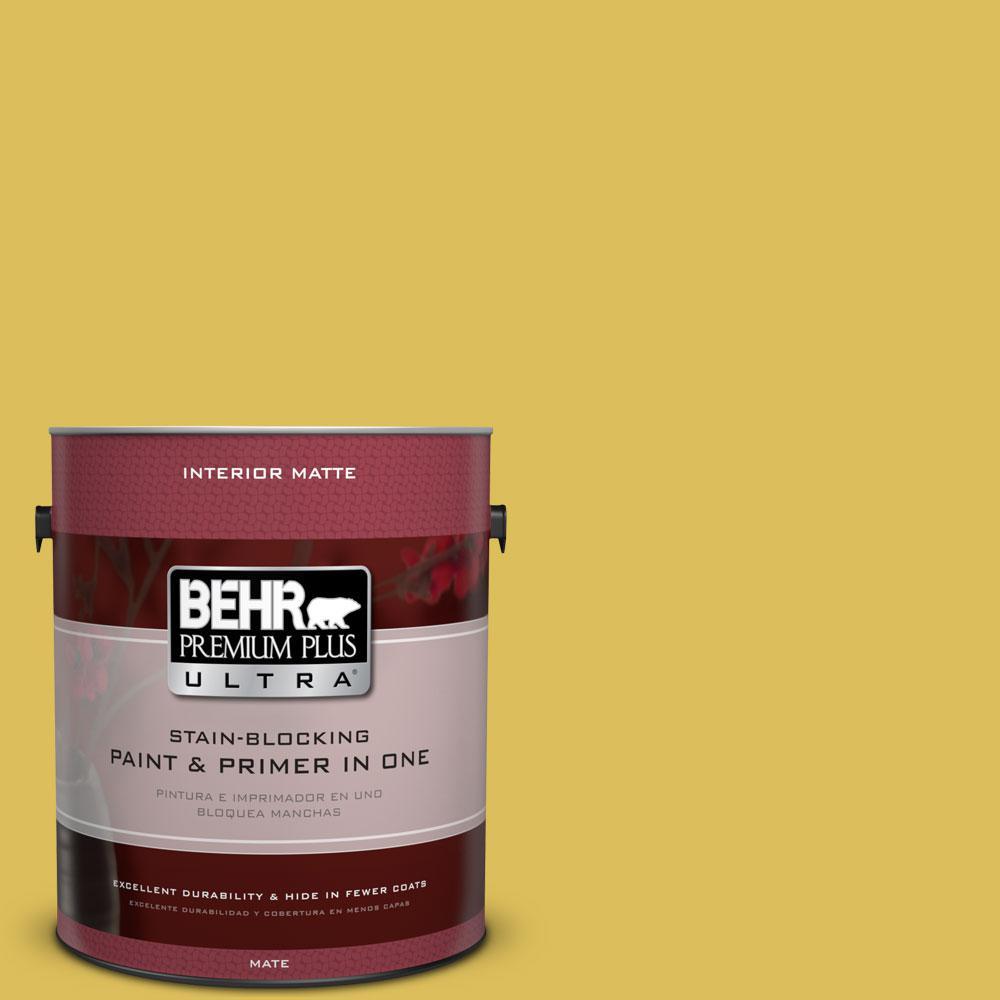 1 gal. #P320-6 Sulfur Yellow Matte Interior Paint