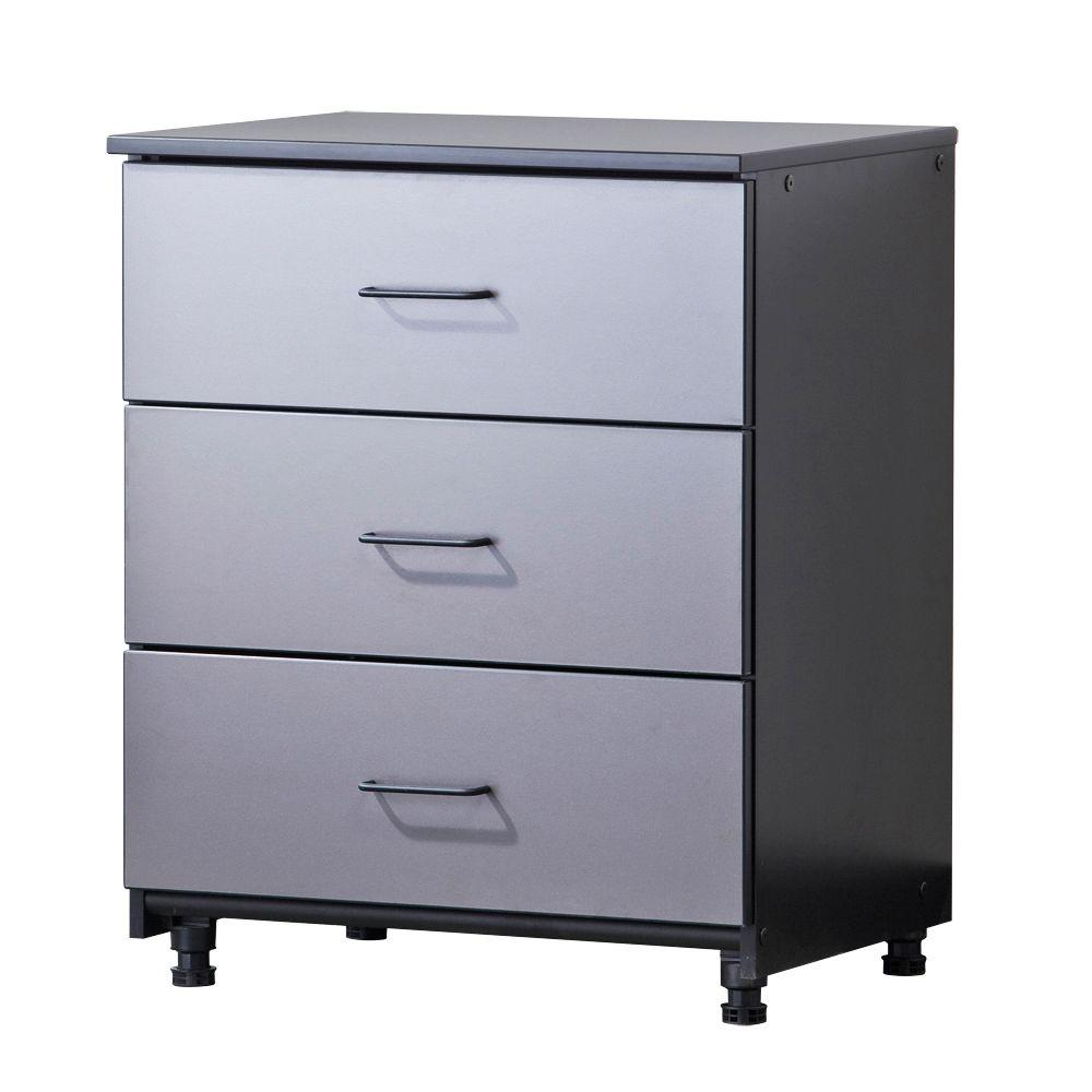 Tuff Stor 3-Drawer 27.5 in. W x 34 in. H x 21 in. D Freestanding Thermo-Fused Melamine Base Cabinet in Grey