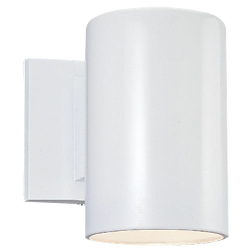 Sea Gull Lighting Bullets 1-Light White Outdoor Wall Fixture