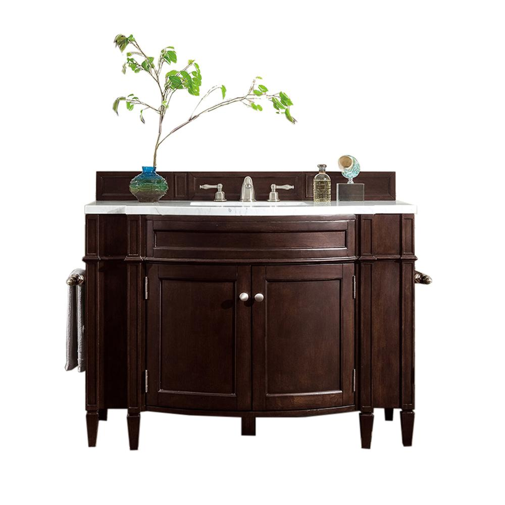 James Martin Vanities Brittany 46 in. W Single Vanity in Burnished Mahogany with Marble Vanity Top in Carrara White with White Basin