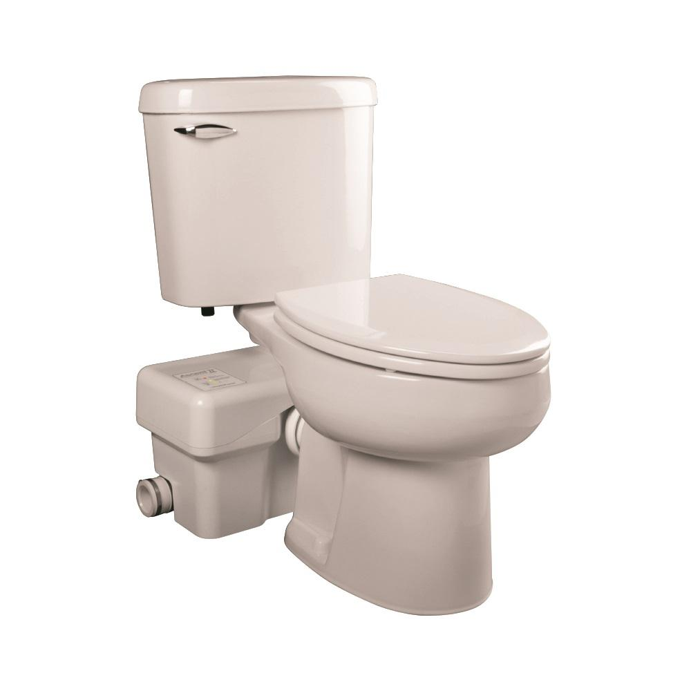 Liberty Pumps Ascent II 2 Piece 128 GPF Single Flush Round Macerating Toilet In White ASCENTII RSW