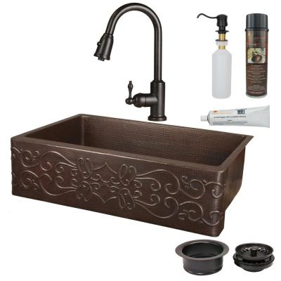 All-in-One Undermount Hammered Copper 35 in. 0-Hole Single Bowl Kitchen Sink with Scroll Design in Oil Rubbed Bronze