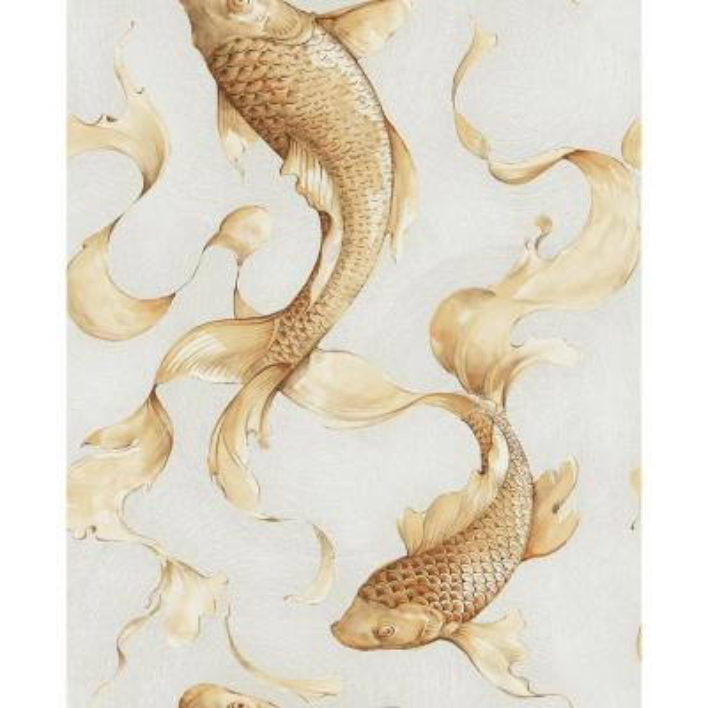 Metallic Gold and Off-White Koi Fish Wallpaper