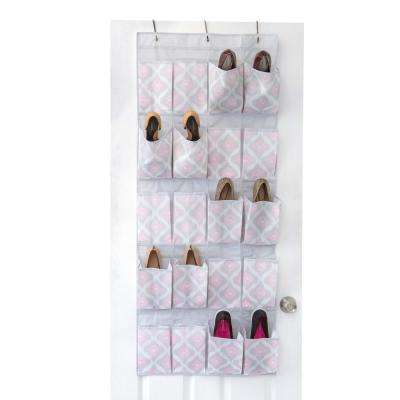 17.25 in. x 33.5 in. 20-Pocket Shoe Organizer in Ikat