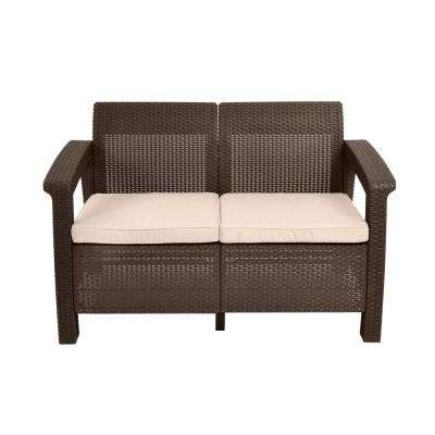 Nice Corfu Brown All Weather Patio Loveseat With Tan Cushions