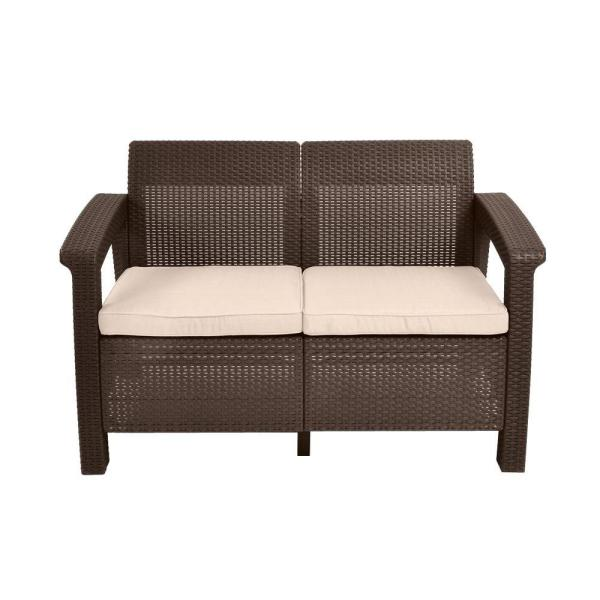 Corfu Brown All-Weather Resin Patio Loveseat with Tan Cushions
