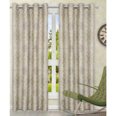 84 in. W x 63 in. L Miramar Medallion Platinum Cotton Grommet Top Panel Pair