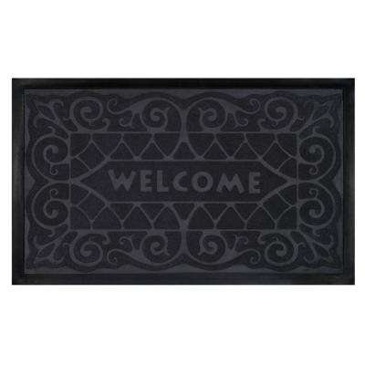 Grey 18 in. x 30 in. Wrought Iron Door Mat