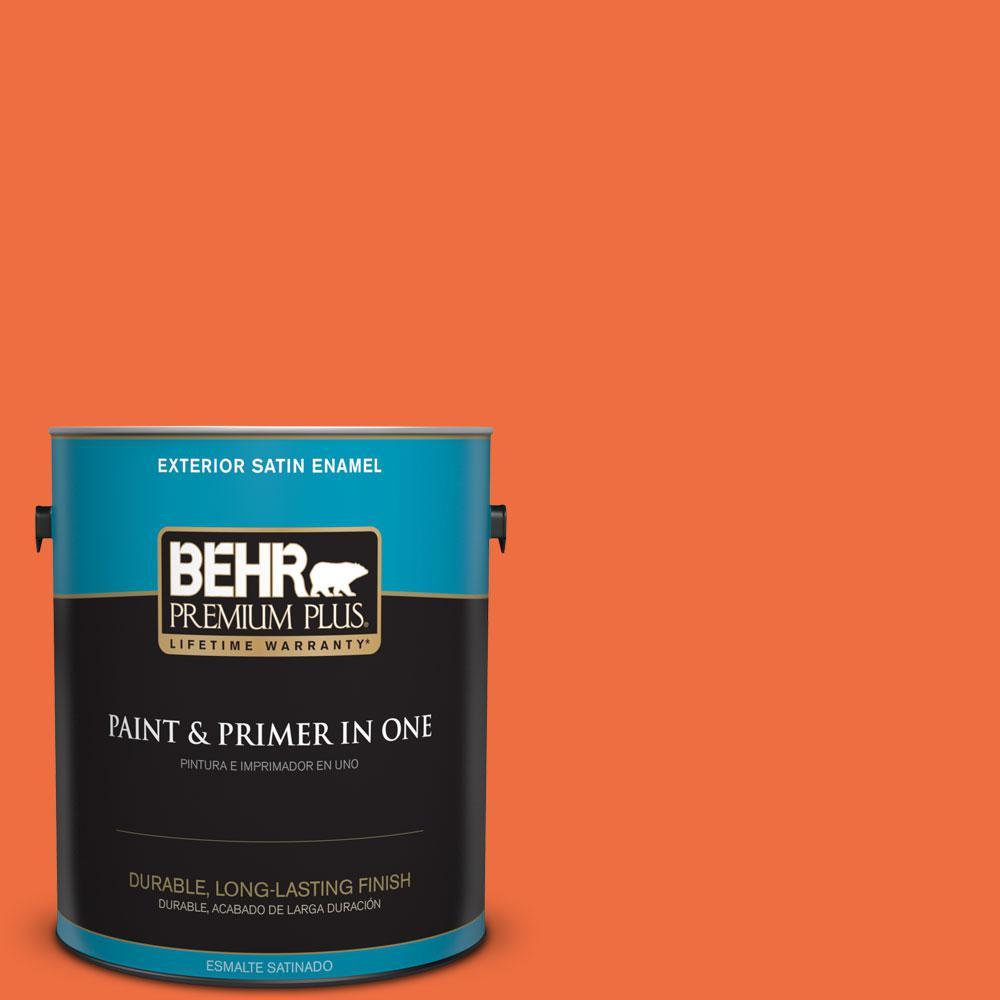 BEHR Premium Plus 1-gal. #210B-6 Aurora Orange Satin Enamel Exterior Paint