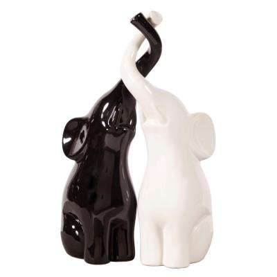 Elephant Love Black and White Sculpture (Set of 2)