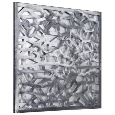 """""""Silver Enigma"""" Polished Steel Sculpture with Hand Appied Silver Leaf Abstract Wall Art"""