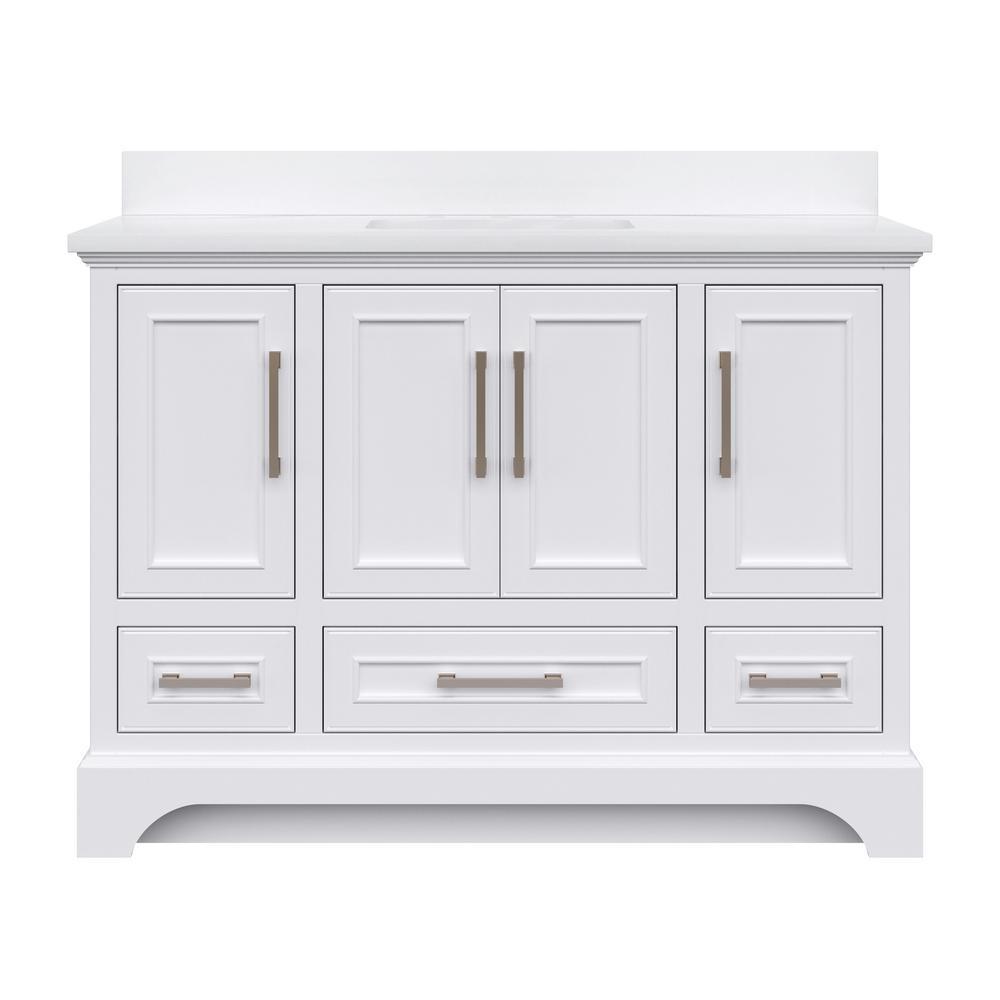 Lareda 48 in. W x 22 in. D Bath Vanity in White with Engineered Vanity Top in White with White Basin